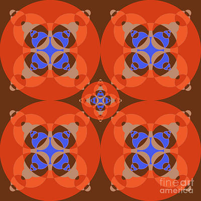 Abstract Mandala Orange, Brown, Blue And Cyan Pattern For Home Decoration Poster by Pablo Franchi