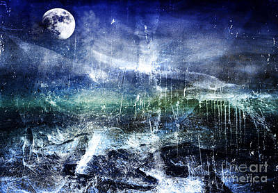 Abstract Moonlit Seascape Painting 36a Poster