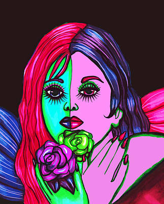 Abstract Neon Rose Fairy Poster