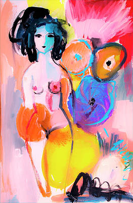 Abstract Nude With Flowers Poster