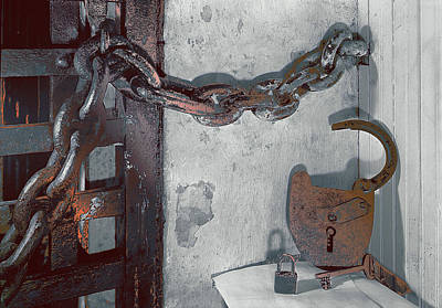 Poster featuring the photograph Grunge Old Padlock by Robert G Kernodle
