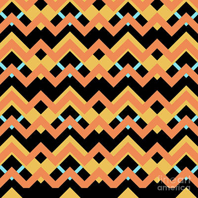 Abstract Orange, Black And Cyan Pattern For Home Decoration Poster
