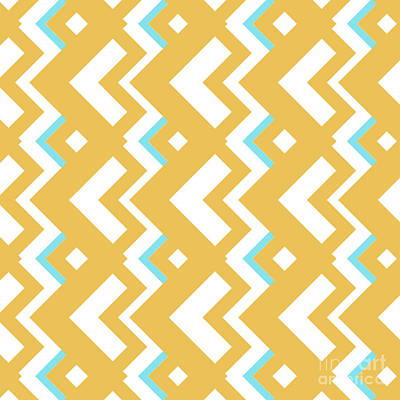 Abstract Orange, White And Cyan Pattern For Home Decoration Poster