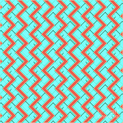 Abstract Orange, Yellow And Cyan Pattern For Home Decoration Poster