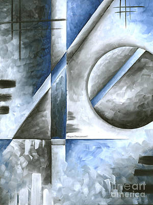 Abstract Original Art Contemporary Blue And Gray Painting By Megan Duncanson Blue Destiny I Madart Poster by Megan Duncanson