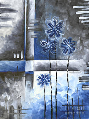 Abstract Original Art Contemporary Blue And Gray Painting By Megan Duncanson Blue Destiny Iv Madart Poster by Megan Duncanson