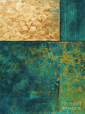 Abstract Original Painting Contemporary Metallic Gold And Teal By Madart Poster by Megan Duncanson
