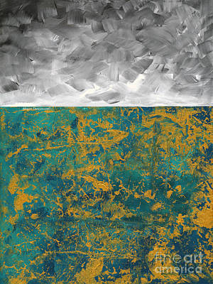 Abstract Original Painting Contemporary Metallic Gold And Teal With Gray Madart Poster