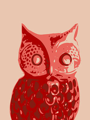 Abstract Owl Contours Red Poster