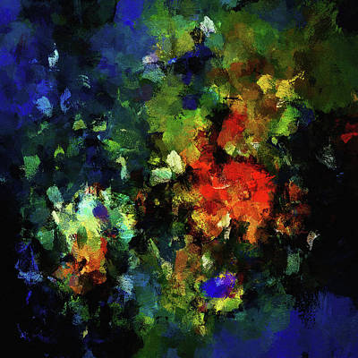 Poster featuring the painting Abstract Painting In Dark Blue Tones by Ayse Deniz