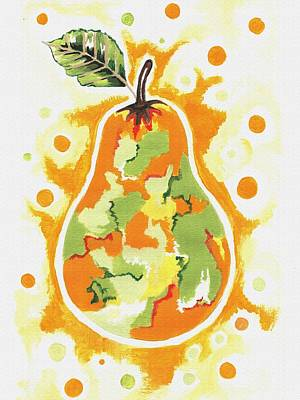 Poster featuring the painting Abstract Pear by Kathleen Sartoris