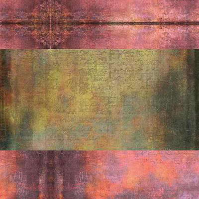 Abstract Pink And Green Metallic Rectangle Poster by Brandi Fitzgerald
