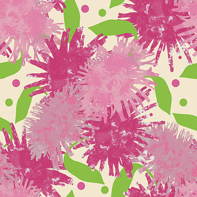 Abstract Pink Puffs Poster