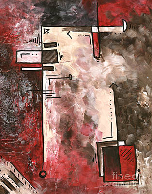 Abstract Pop Art Style Red Brown Silver Painting Contemporary Art By Madart Poster by Megan Duncanson