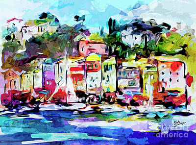 Abstract Portofino Italy Art  Poster