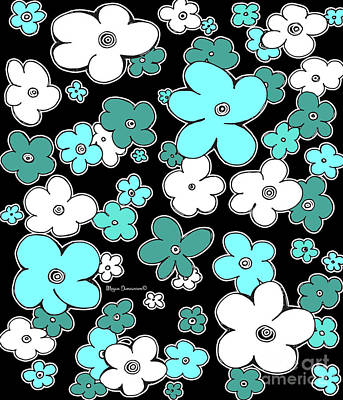 Abstract Puffy Aqua Teal Flowers Floral Fiesta 5 By Megan Duncanson Poster