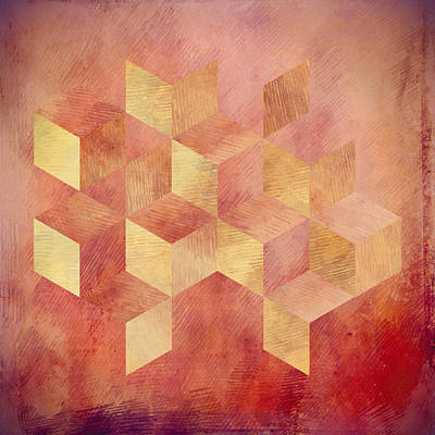 Abstract Red And Gold Geometric Cubes Poster by Brandi Fitzgerald