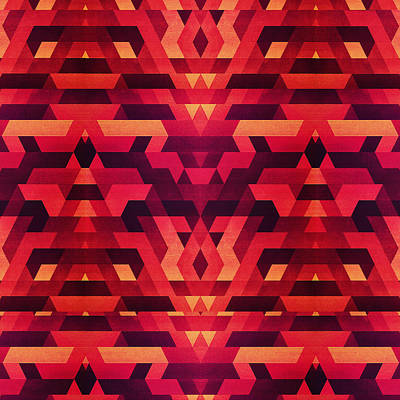 Abstract Red Geometric Triangle Texture Pattern Design Digital Futrure  Hipster  Fashion Poster by Philipp Rietz