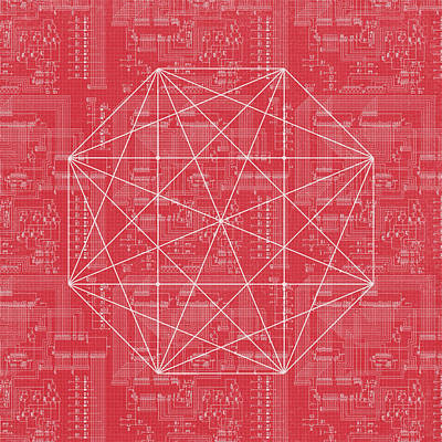 Abstract Red Octagon Line Art Poster by Brandi Fitzgerald