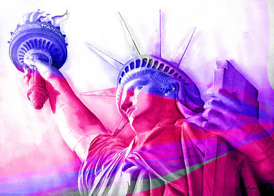 Poster featuring the painting Abstract Statue Of Liberty 7 by J- J- Espinoza