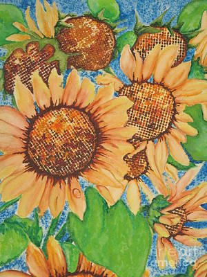 Poster featuring the painting Abstract Sunflowers by Chrisann Ellis