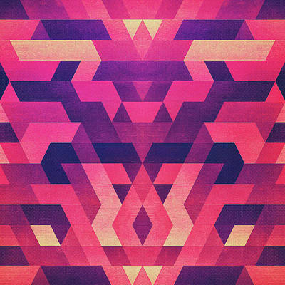 Abstract Symertric Geometric Triangle Texture Pattern Design In Diabolic Magnet Future Red Poster by Philipp Rietz