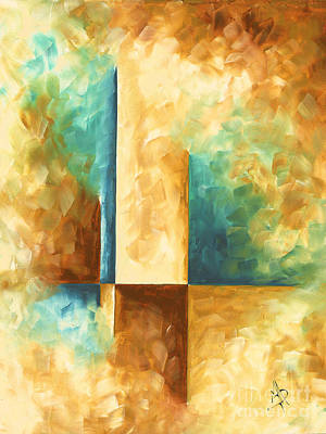 Abstract Teal Golden Rust Minimalist Contemporary Pop Art Painting Aqua Maze II By Madart Poster by Megan Duncanson