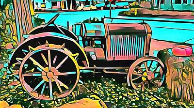 Poster featuring the digital art Abstract Tractor Los Olivos California by Floyd Snyder