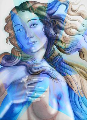 Poster featuring the painting Abstract Venus Birth 4 by J- J- Espinoza
