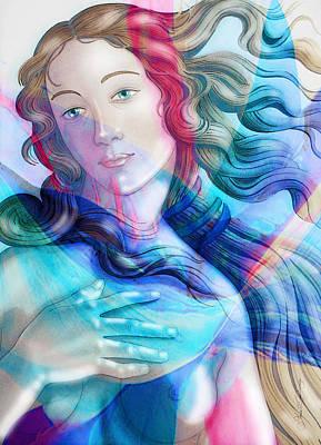 Poster featuring the painting Abstract Venus Birth 6 by J- J- Espinoza