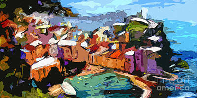 Abstract Vernazza Italy Cinque Terre Poster by Ginette Callaway