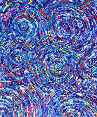Abstract Water Ripples Contemporary Impressionist Palette Knife Oil Painting By Ana Maria Edulescu Poster by Ana Maria Edulescu