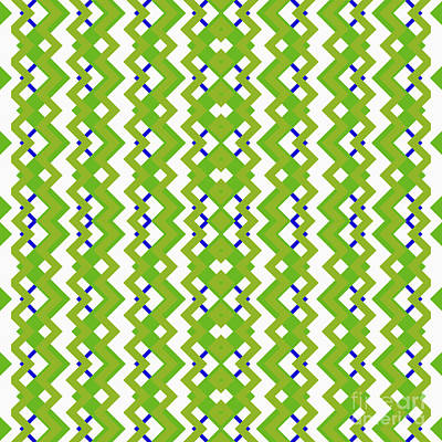 Abstract White, Green And Blue Pattern For Home Decoration Poster by Pablo Franchi