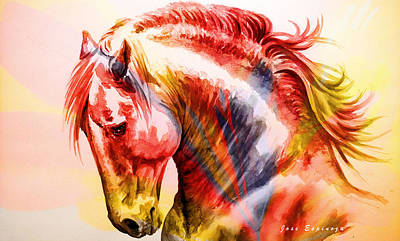 Poster featuring the painting Abstract White Horse 46 by J- J- Espinoza