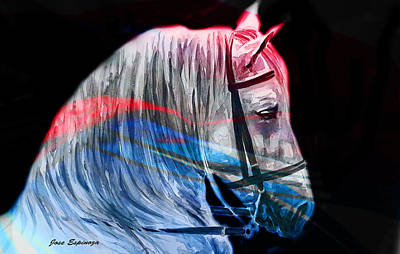 Poster featuring the painting Abstract White Horse 53 by J- J- Espinoza