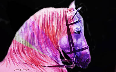 Poster featuring the painting Abstract White Horse 56 by J- J- Espinoza