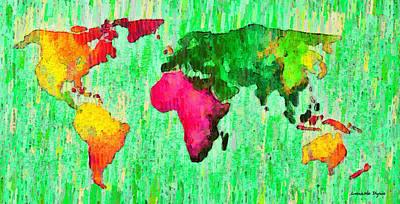 Abstract World Map 16 - Da Poster by Leonardo Digenio