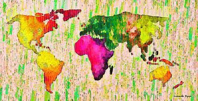 Abstract World Map 19 - Da Poster by Leonardo Digenio