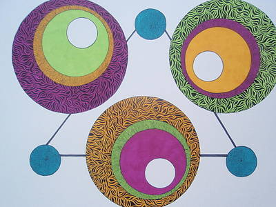 Poster featuring the drawing Abstracted Circles by Beth Akerman