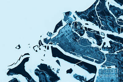 Abu Dhabi Abstract City Map Top View Dark Poster by Frank Ramspott