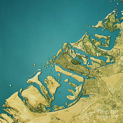 Abu Dhabi Topographic Map Natural Color Top View Poster by Frank Ramspott