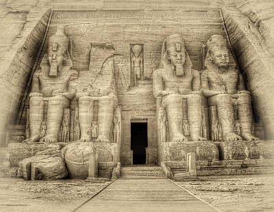 Abu Simbel Antiqued Poster by Nigel Fletcher-Jones
