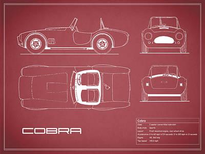 Ac Cobra Blueprint - Red Poster
