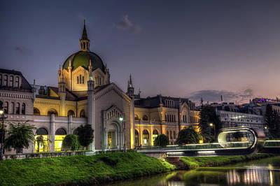 Academy Of Fine Arts, Sarajevo, Bosnia And Herzegovina At The Night Time Poster by Elenarts - Elena Duvernay photo
