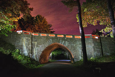 Acadia Carriage Bridge Under The Stars Poster