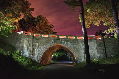 Acadia Carriage Bridge Under The Stars Poster
