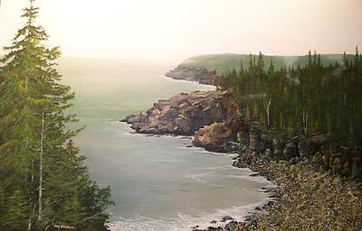 Acadia Maine Morning Mist Poster