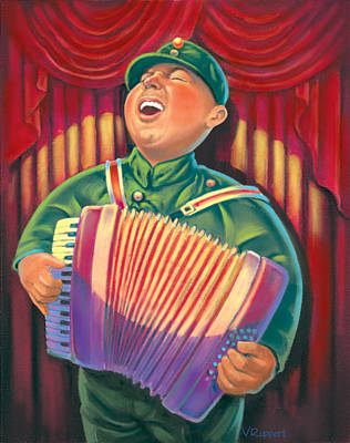Accordian Player Poster by Valer Ian