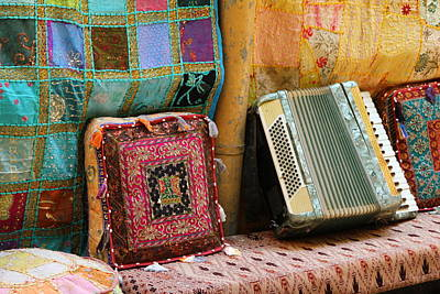 Accordion  With Colorful Pillows Poster by Yoel Koskas