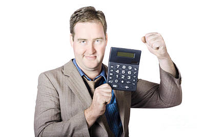 Accountant Working With A Calculator Poster